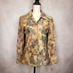NWT Kate Hill tan floral fitted leather jacket 6